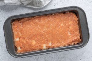 Easy chicken meatloaf that's ready to bake in casserole pan