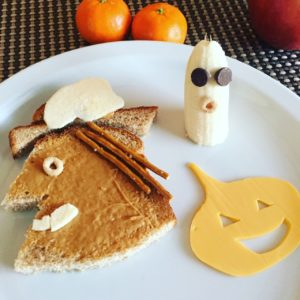 Peanut butter & apple witch, cheesy pumpkin, and banana ghost