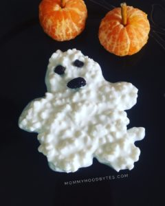 Cottage cheese ghost with clementine pumpkin