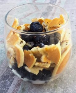 Blueberry Pancake Yogurt Parfait to celebrate National Blueberry Pancake Day!