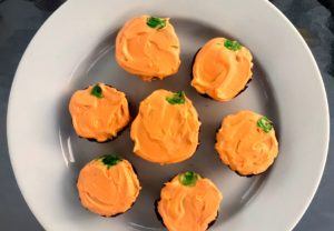 Mini Halloween Pumpkin Chocolate Cupcakes