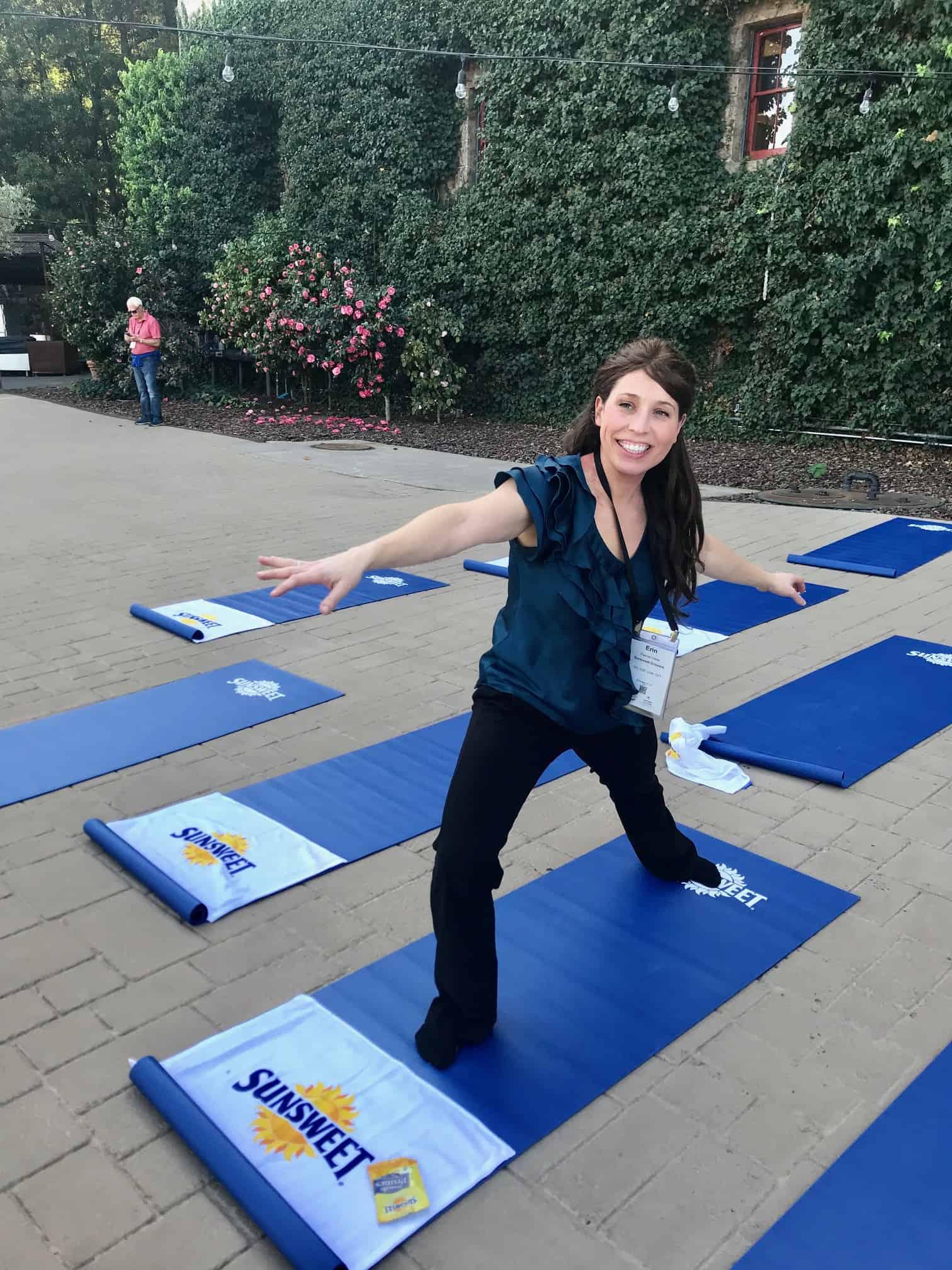 Erin Palinski-Wade doing yoga at conference