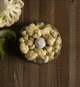 cauliflower florets in a food processor