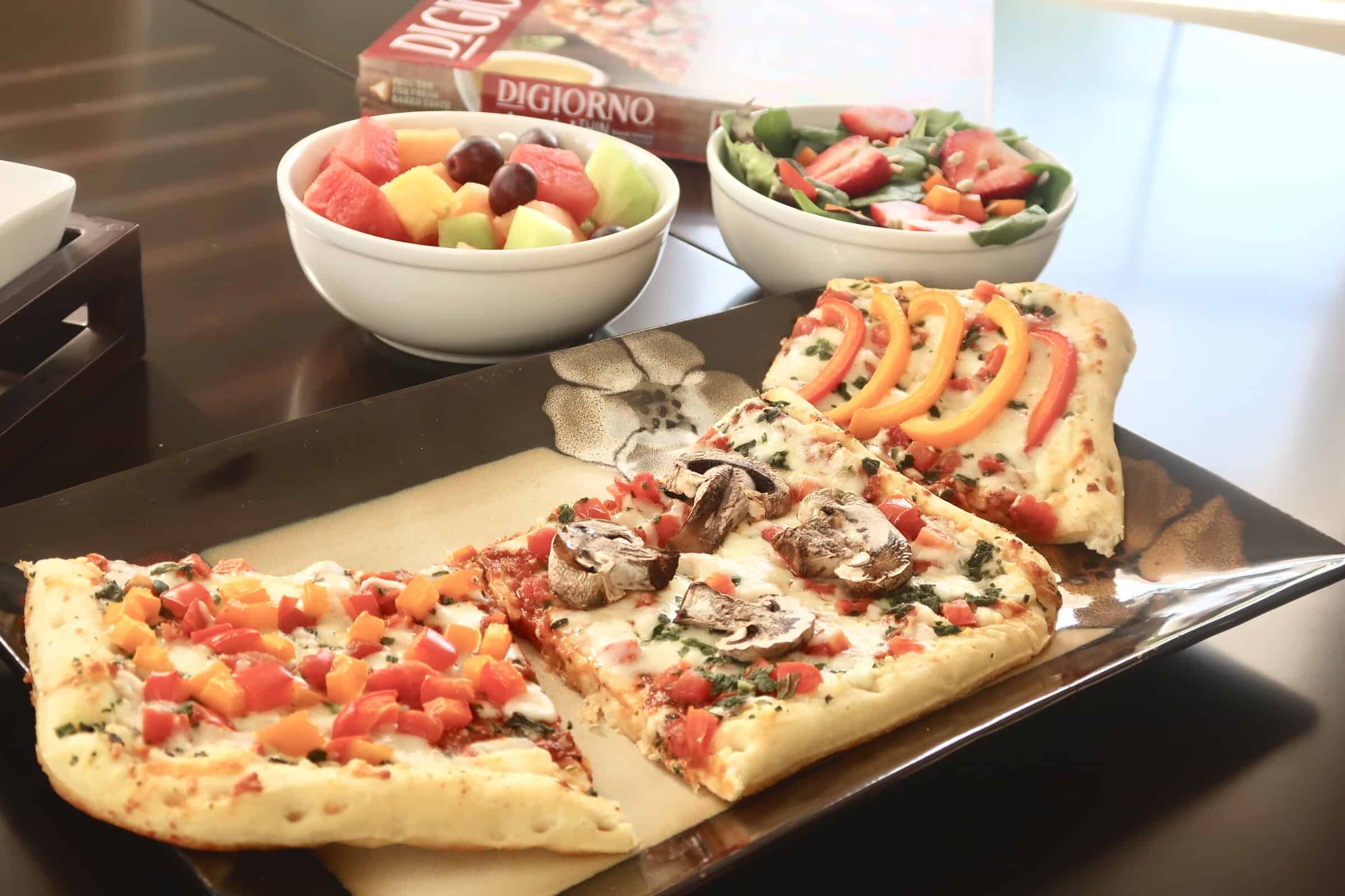 Add vegetable toppings with a veggie bar to amp up your pizza night in a healthy way