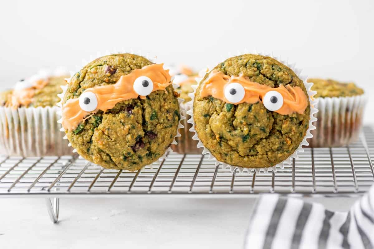 Couple of Ninja Turtle Green Veggie Muffins