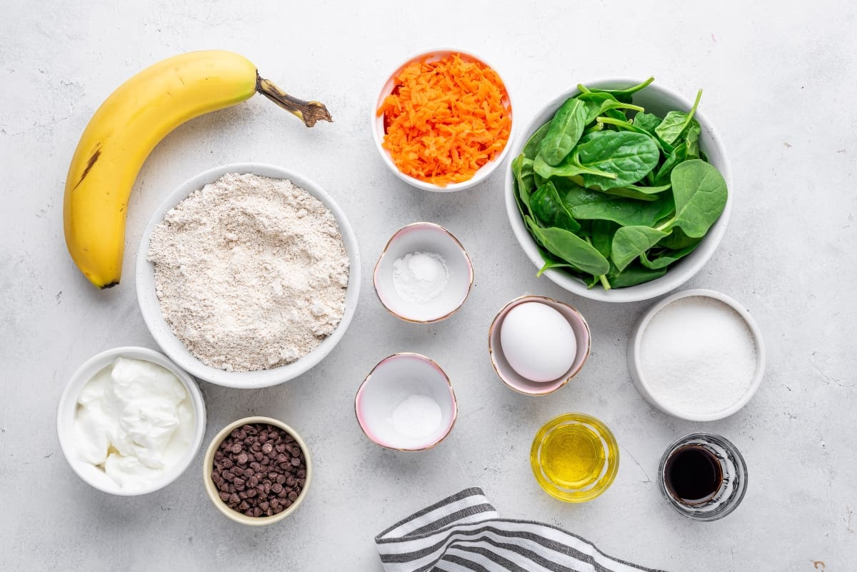 Ingredients for green muffin recipe