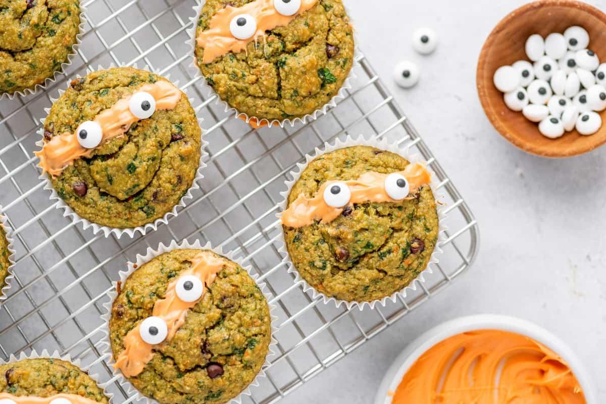 Ninja Turtle Veggie Muffins With Candy Eyeballs