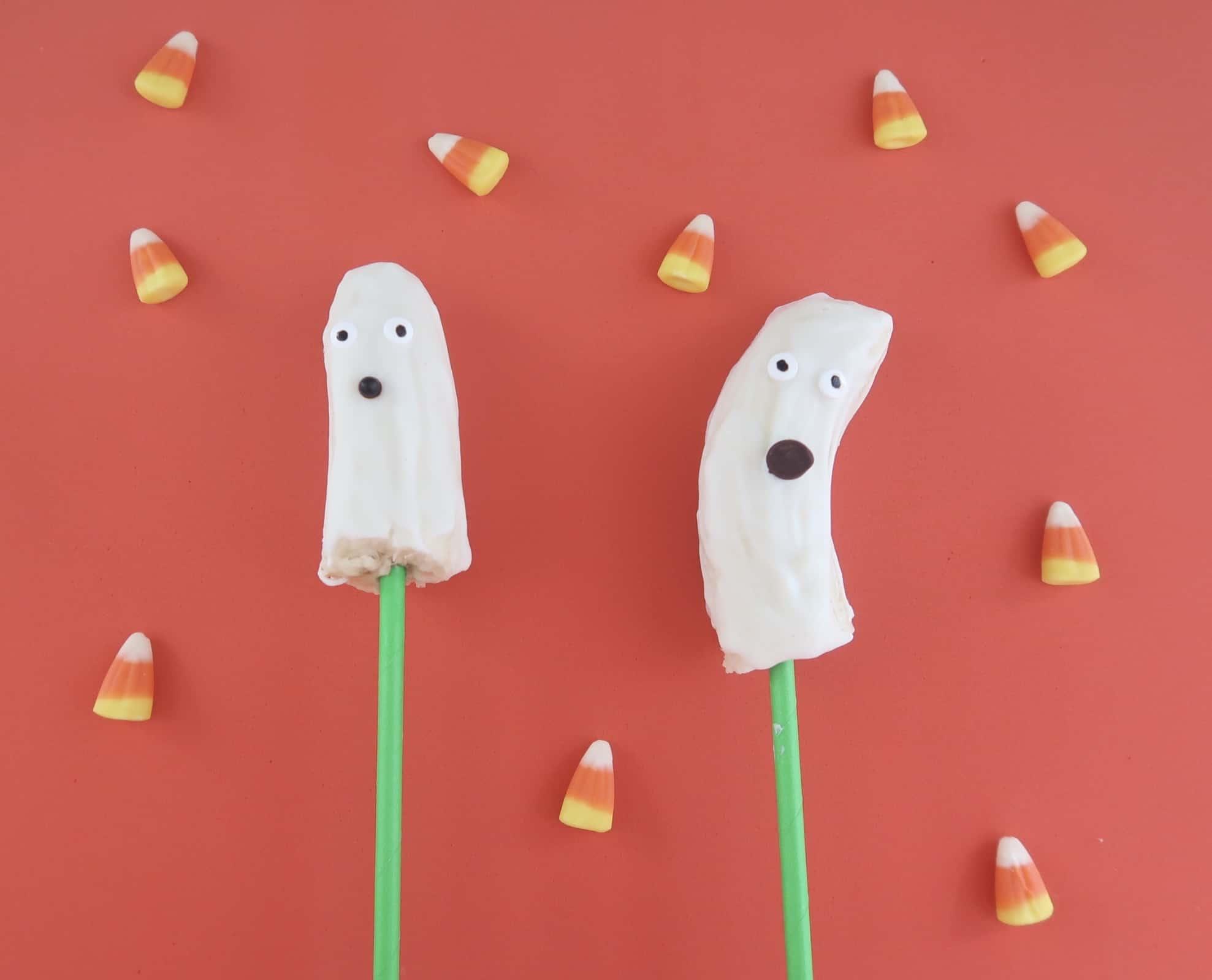 Healthy Halloween Treats for Kids Banana Ghost Pop Recipe
