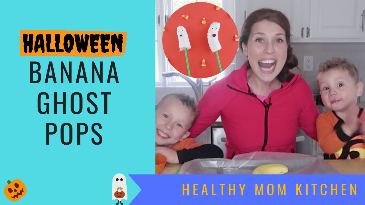 Healthy halloween treats for kids banana ghost pops
