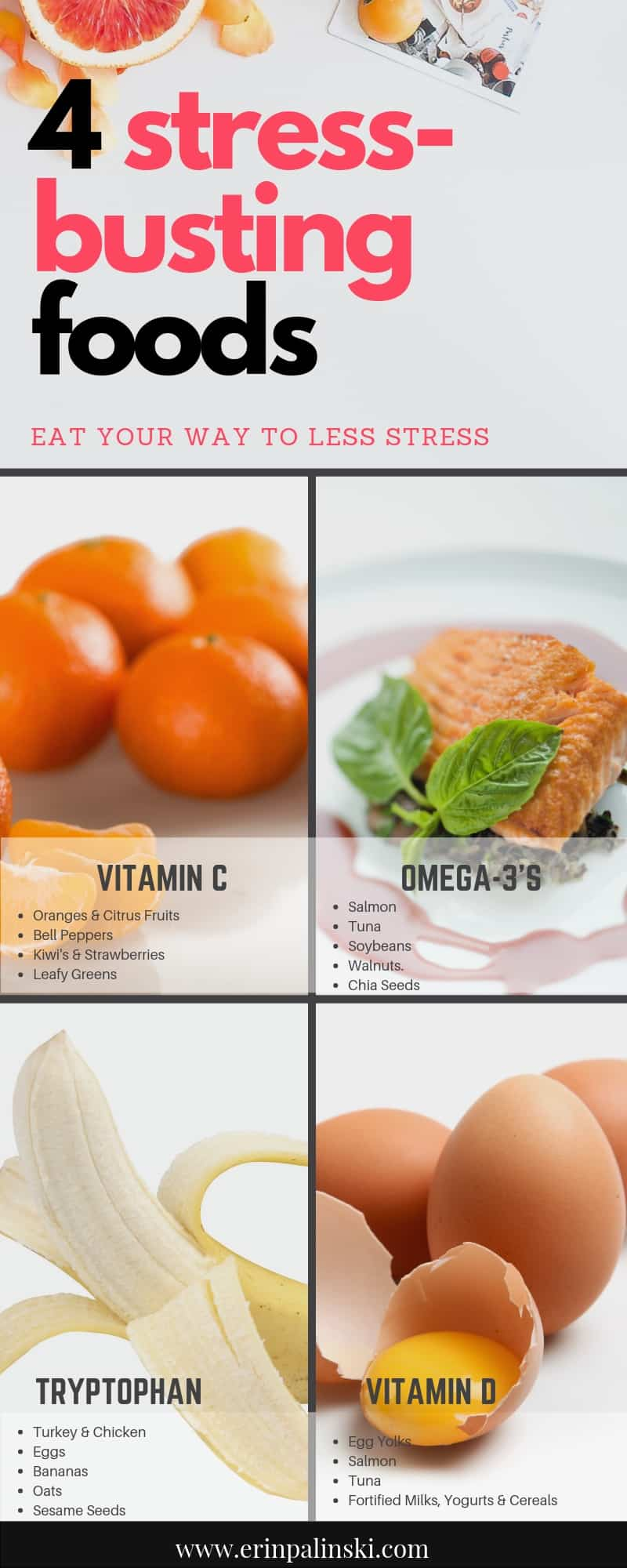 4 Stress-Busting Foods Vitamin C Omega 3's Tryptophan Vitamin D
