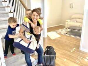 busy mom tries to get out the door in the morning with three children