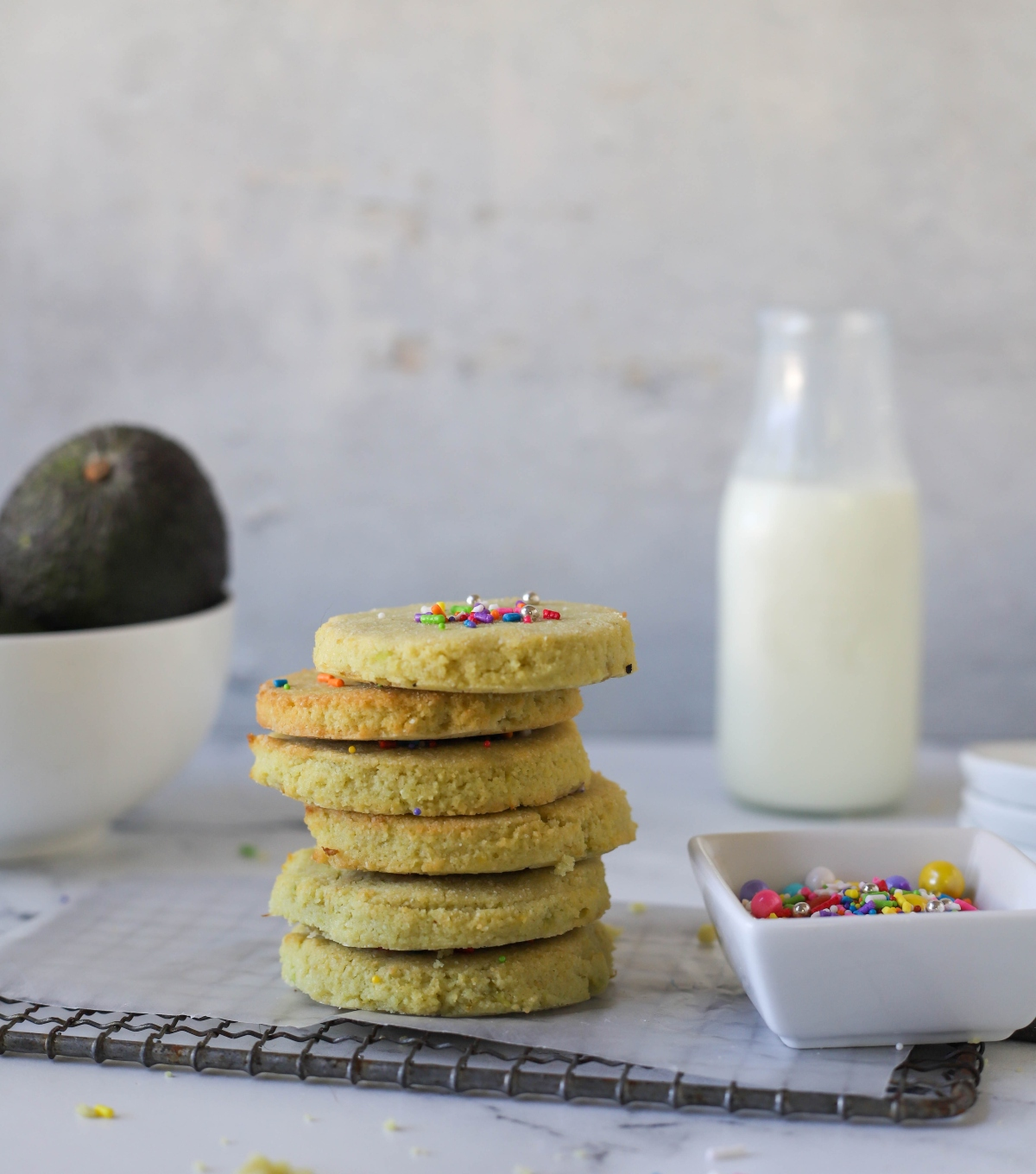 Keto sugar cookies stacked on top of each other