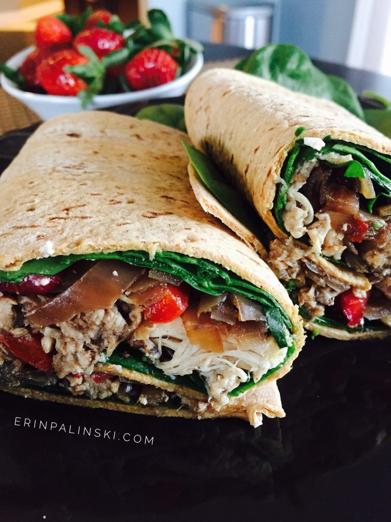 The easiest Slow Cooker Balsamic Honey Chicken Vegetable Wrap