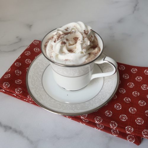 keto hot chocolate recipe topped with whipped cream