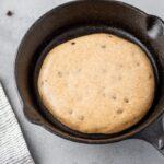 Pancake in pan ready to be baked