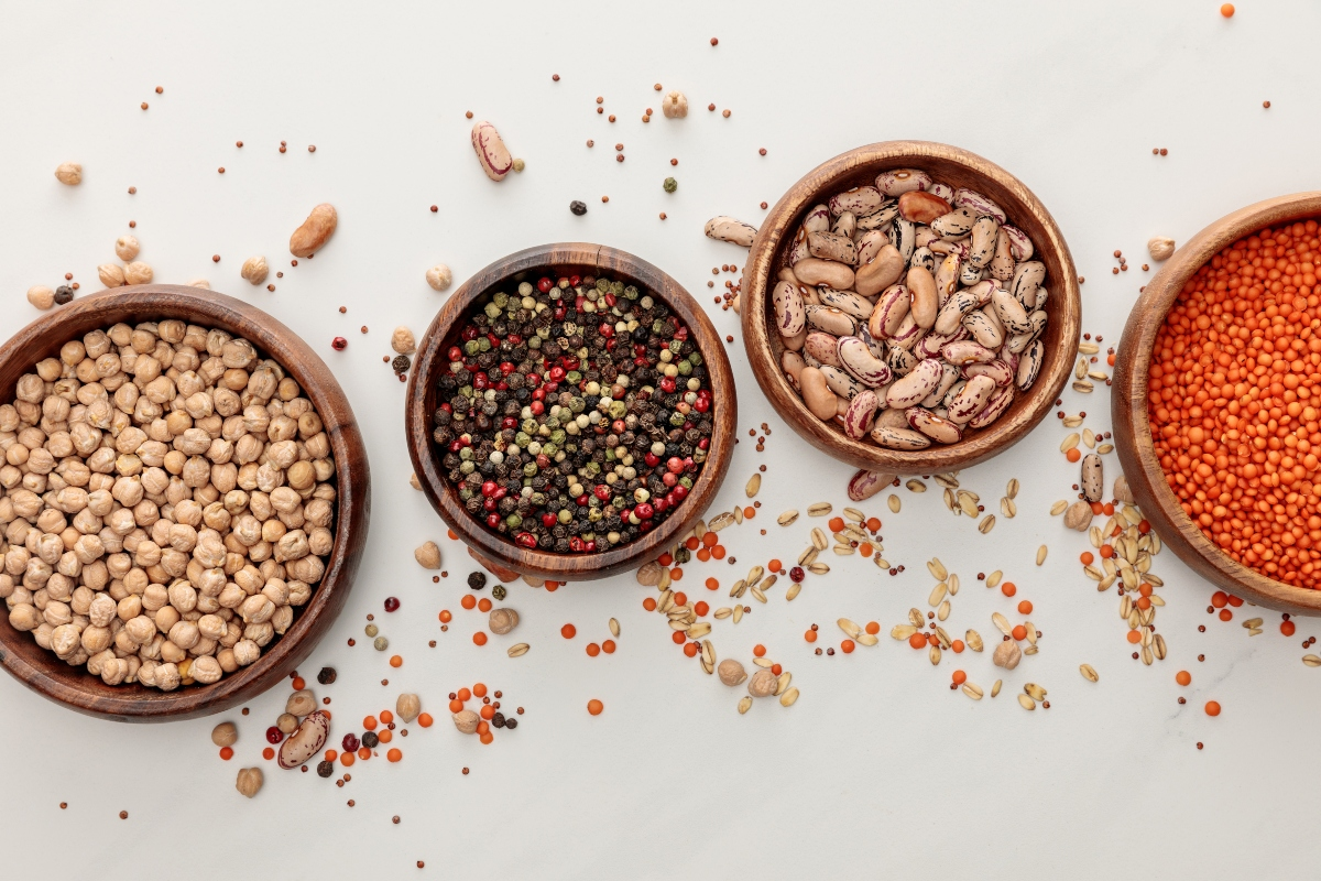 Bowls with legumes