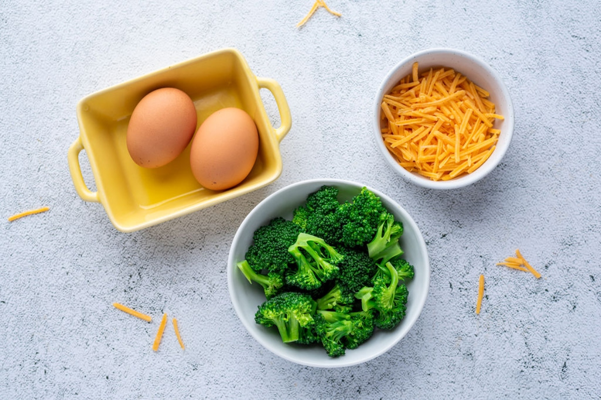 Ingredients for easy egg omelet