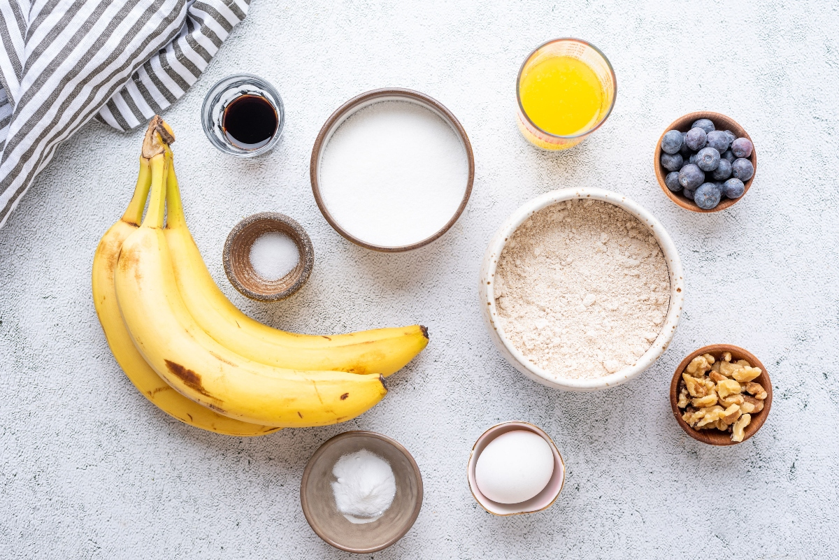 Ingredients for oat banana blueberry muffins