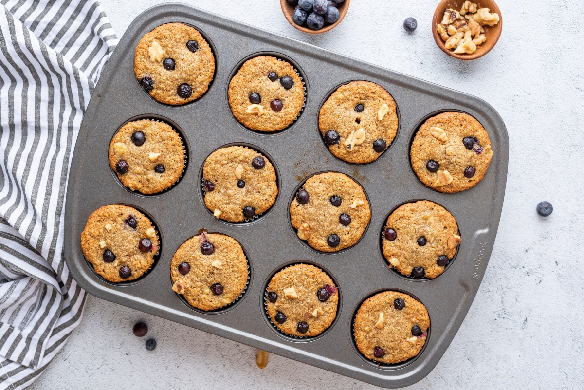 Oat Banana Blueberry Muffins in muffin pan