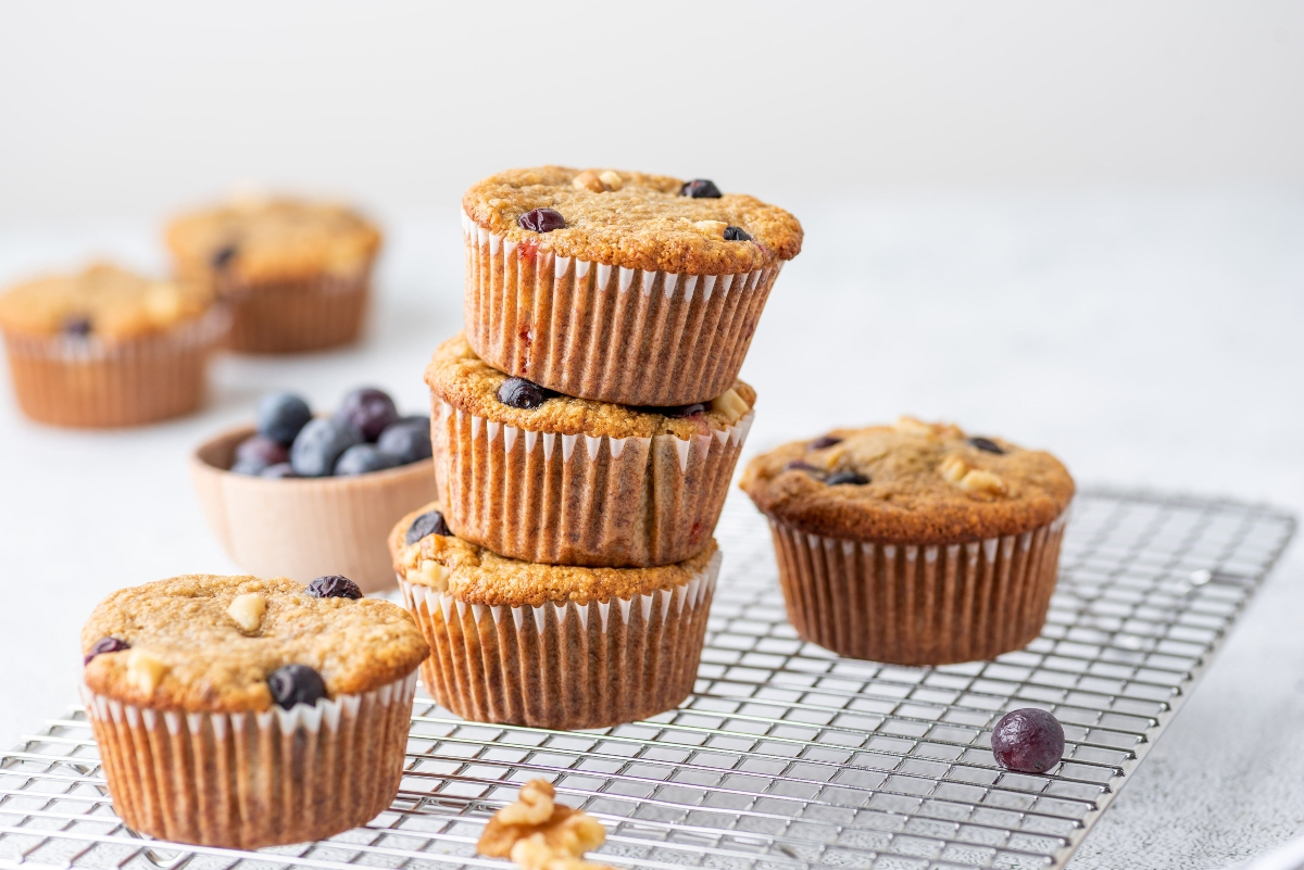 Oat Banana Blueberry Muffins stacked together