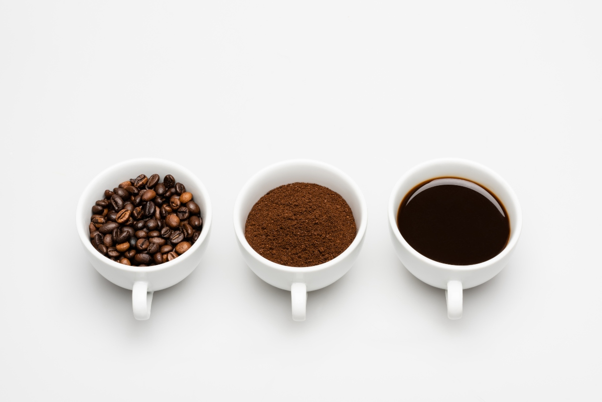 3 cups of coffee beans, grounded coffee and coffee drink
