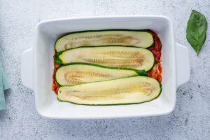 Assembling Keto Vegetarian Lasagna