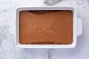 Batter for keto chocolate cake in cake pan