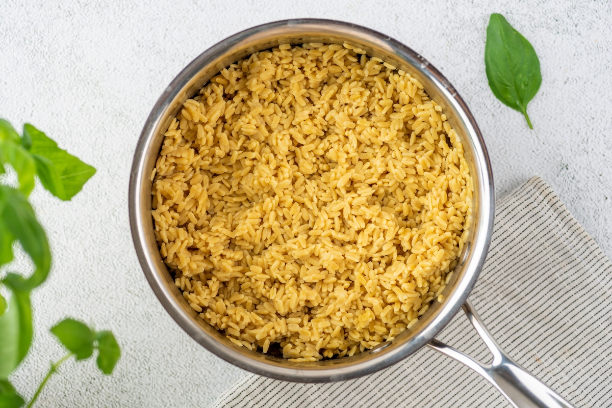 Cooked rice in a saucepan