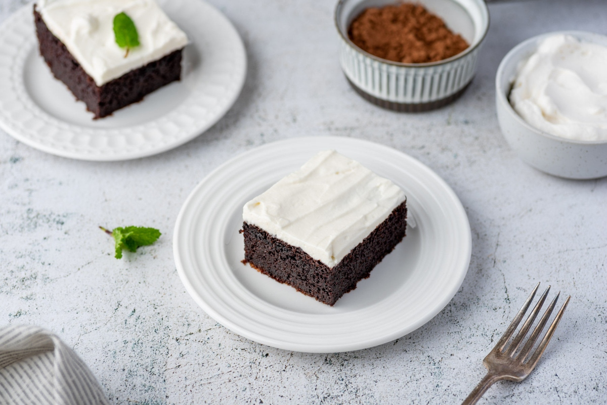 Couple pieces of keto chocolate cake served on the plates