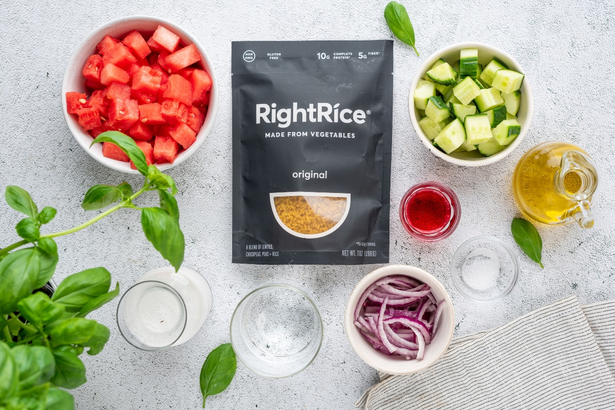 Ingredients for High Fiber Watermelon Salad with Coconut Rice