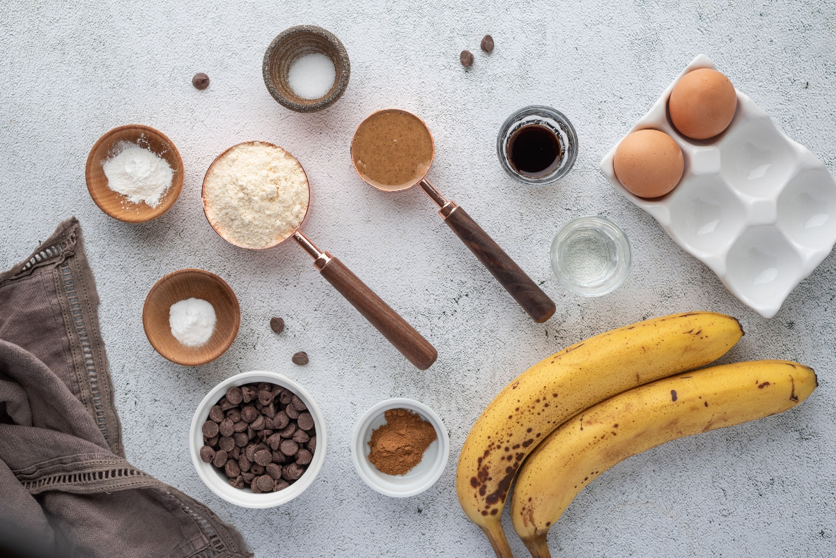 Ingredients for Keto Chocolate Banana Bread