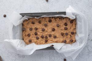Keto Chocolate Banana Bread Batter in Loaf Pan