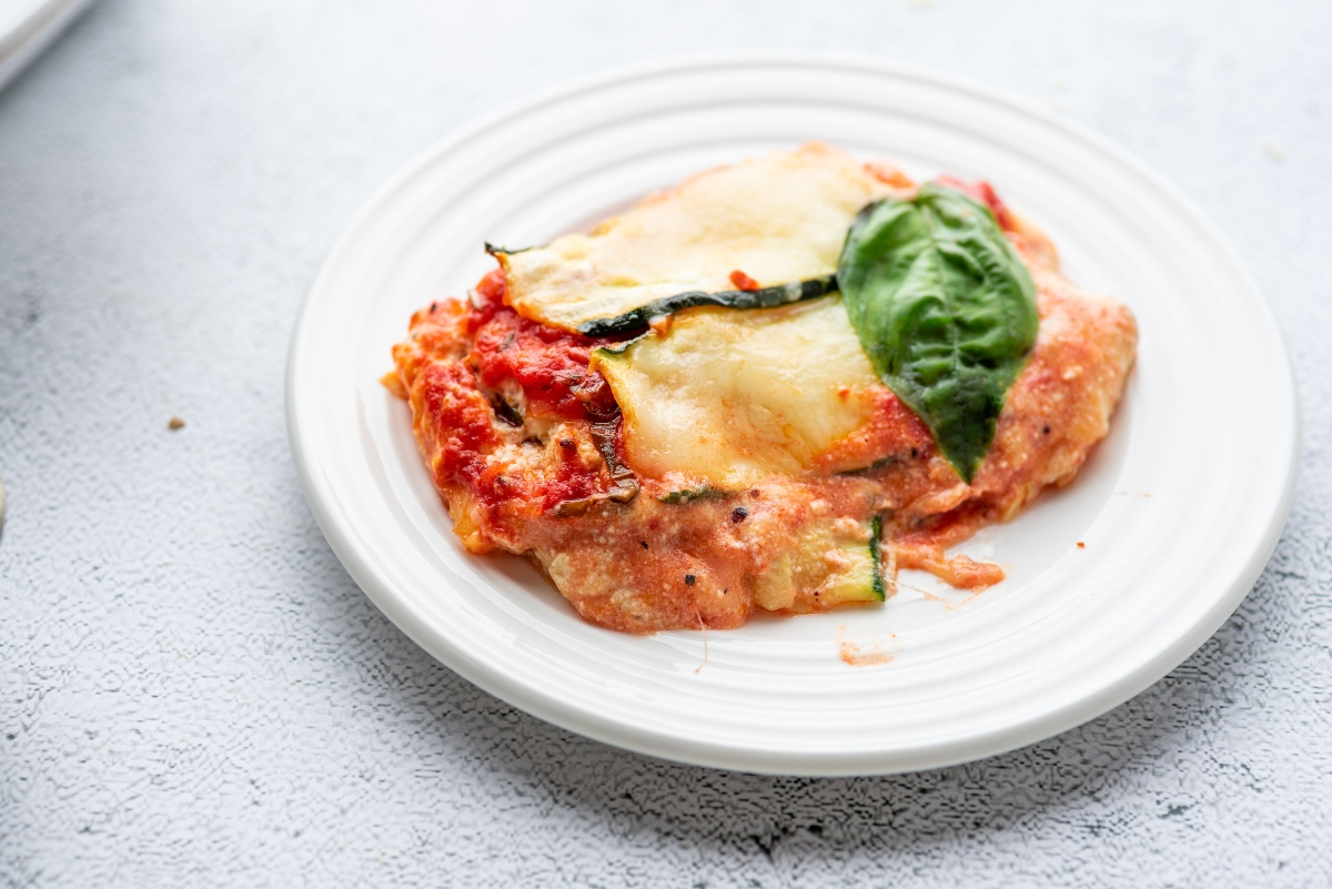 Piece of Easy Keto Vegetarian Lasagna on a plate