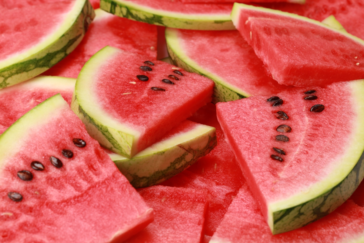 Slices of watermelon stacked on each other