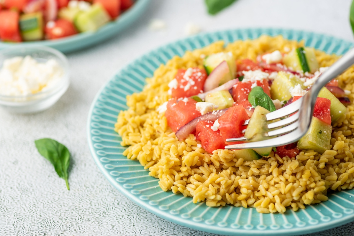 Watermelon Salad with Coconut Rice on a plate