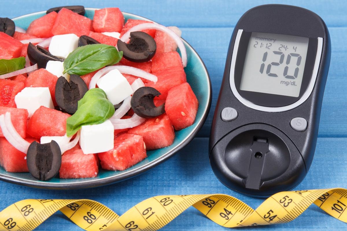Watermelon salad and diabetes meter