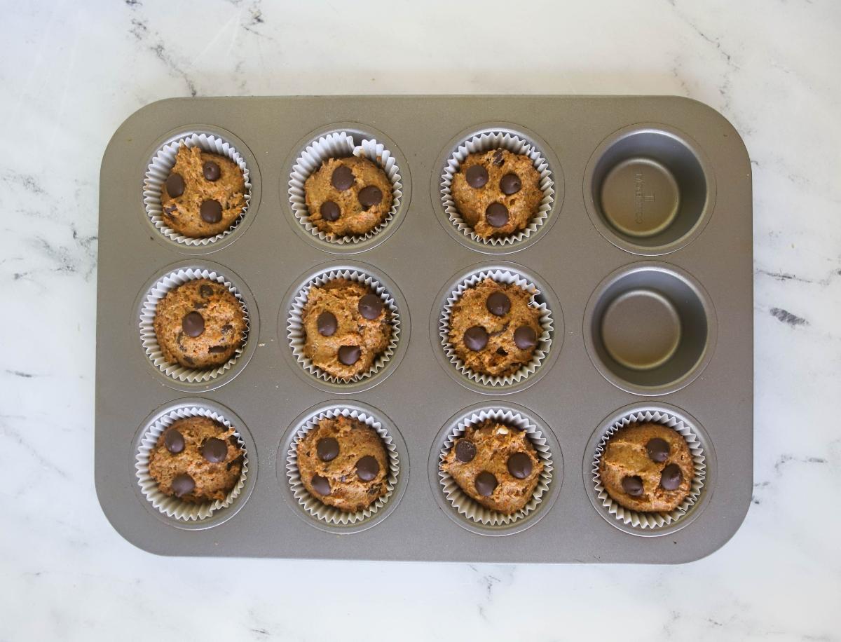 Banana Carrot Muffins in muffin tin