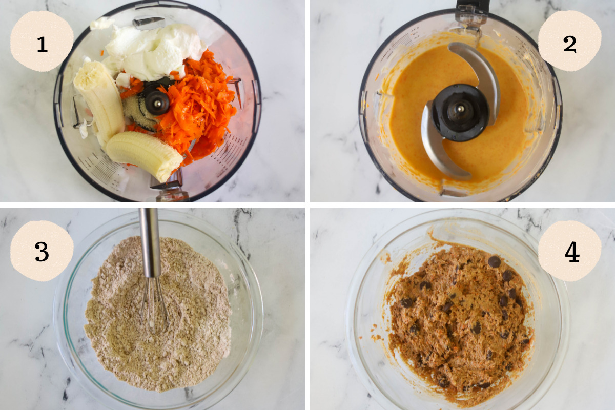 Process steps on how to make banana carrot muffins