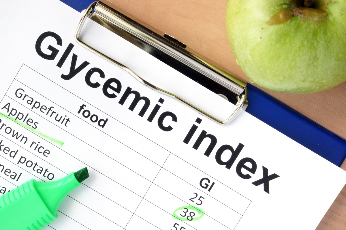 Glycemic index chart with green maker and a green apple beside