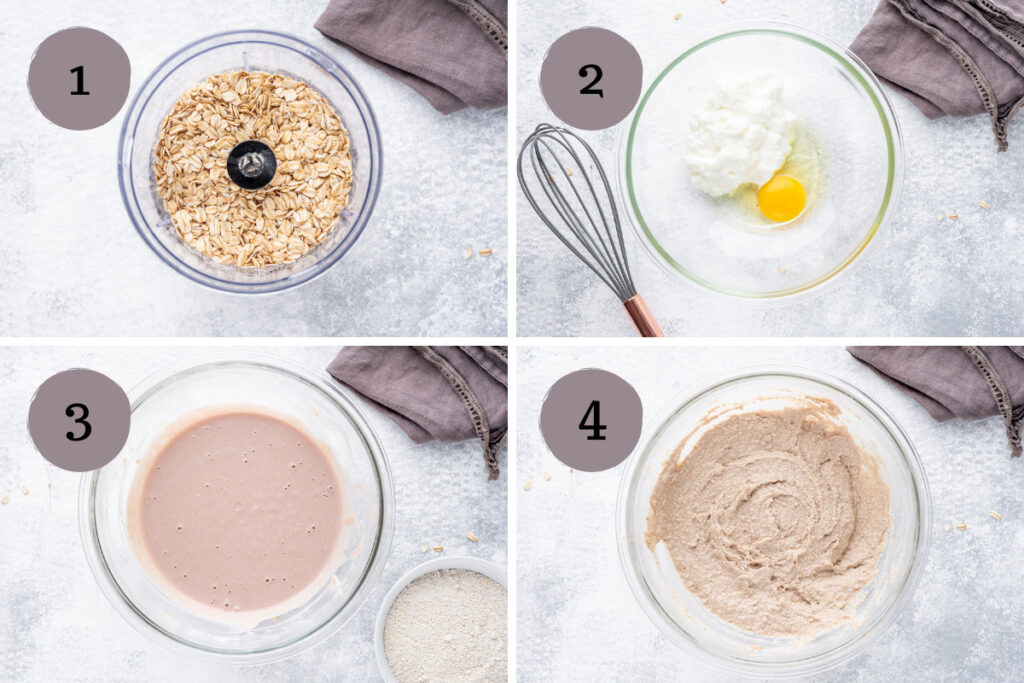 Process phases of how to make peanut butter jelly pancakes