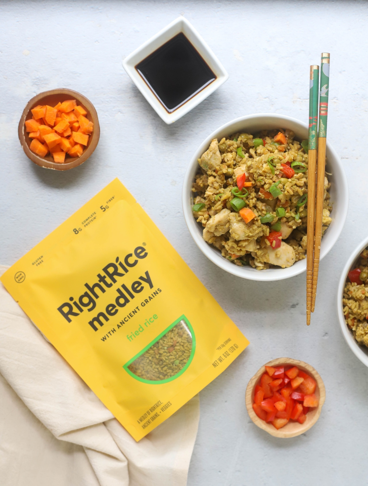 RichtRice package and a bowl of fried rice