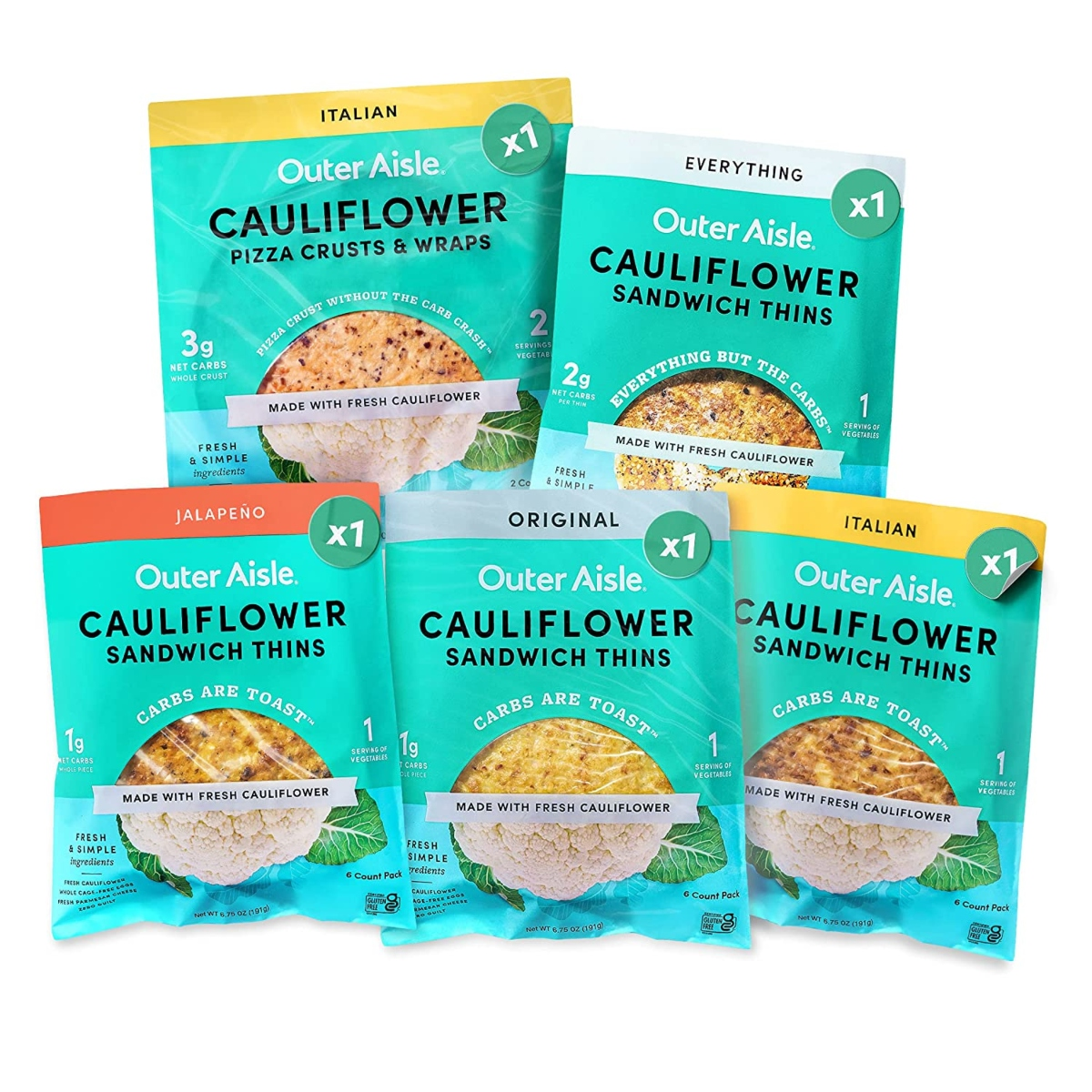 OUTER AISLE Cauliflower Bread and Pizza Crust Variety Pack