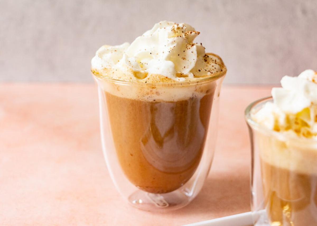 Skinny pumpkin spice latte in a cup